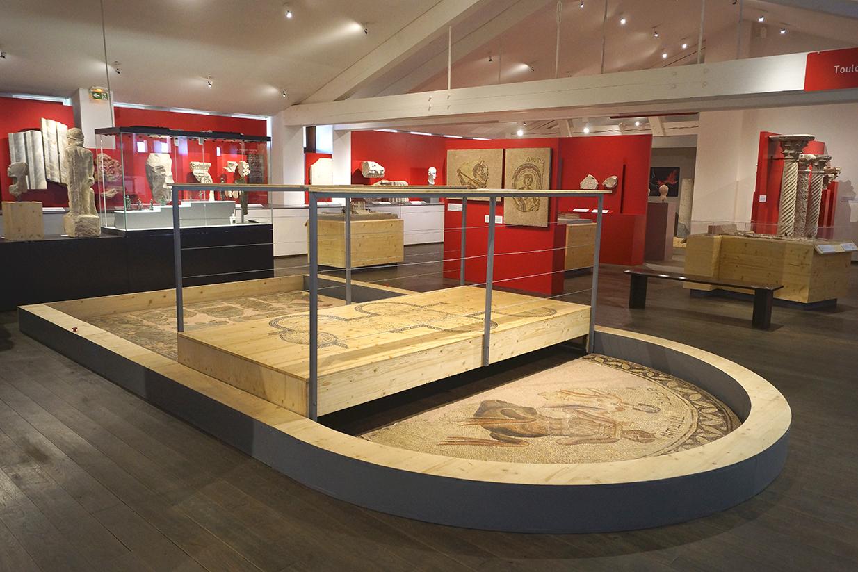muséographie, scénographie, agencement, design d'espace, aménagement, rénovation, musée Saint-Raymond, Toulouse, mosaïque,saint-rustice, ponton, pont, décor, maison, romaine,