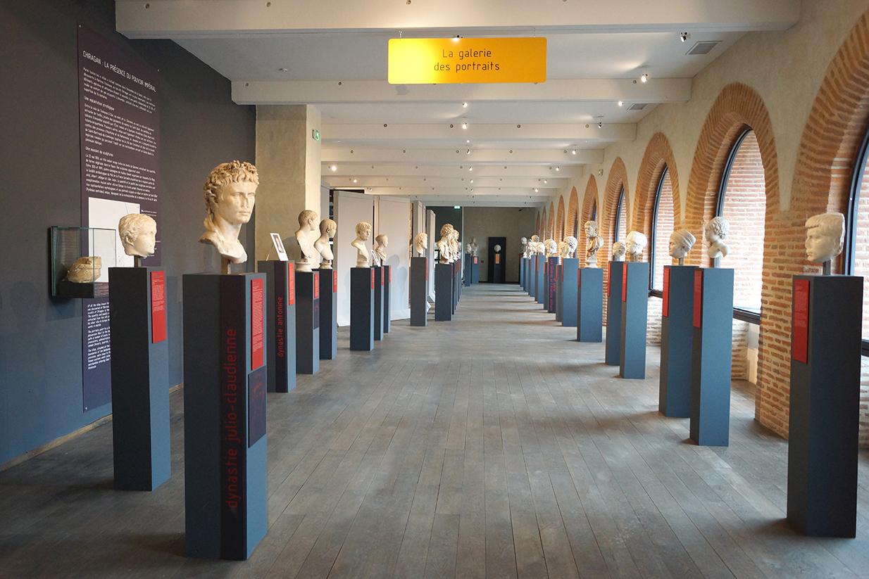muséographie, scénographie, agencement, design d'espace, aménagement, rénovation, musée Saint-Raymond, Toulouse, galerie des portraits, empereurs romains,